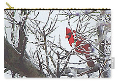 Snowy Red Bird A Cardinal In Winter Carry-all Pouch