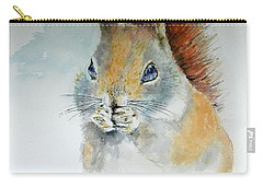 Snowy Red Squirrel Carry-all Pouch by William Reed