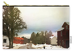 Snowy Street With Red House Carry-all Pouch