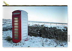Snowy Telephone Box Carry-all Pouch by Helen Northcott