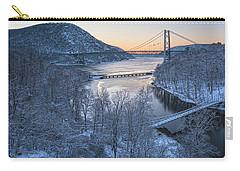 Snowy Winter Dawn At Three Bridges Carry-all Pouch