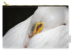 Carry-all Pouch featuring the photograph Snuggled White Pelican by Penny Lisowski