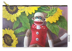 Carry-all Pouch featuring the painting Sock Monkey And Sunflowers by Randol Burns