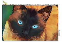 Carry-all Pouch featuring the digital art Socrates Felis Catus by Iowan Stone-Flowers