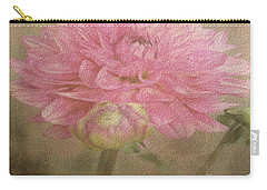 Soft Graceful Pink Painted Dahlia Carry-all Pouch by Judy Palkimas