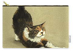 Carry-all Pouch featuring the painting Soft Kitty by Anastasiya Malakhova