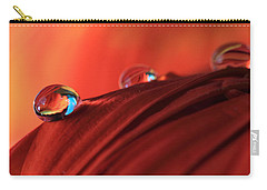 Soft Red Petals With Water Drops Carry-all Pouch