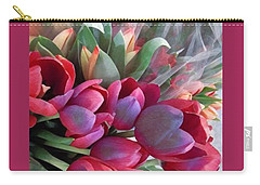 Carry-all Pouch featuring the photograph Soft Reds Of Spring - Tulips by Miriam Danar
