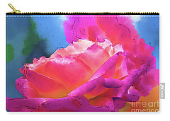Soft Rose Bloom In Red And Purple Carry-all Pouch