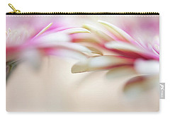 Carry-all Pouch featuring the photograph Soft Touch. Macro Gerbera by Jenny Rainbow