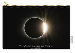 Carry-all Pouch featuring the photograph Solar Eclipse Diamond Ring With Text by Lori Coleman