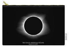 Carry-all Pouch featuring the photograph Solar Eclipse Ring Of Fire With Text by Lori Coleman