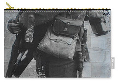 Carry-all Pouch featuring the photograph Soldier And Goat by Therese Alcorn