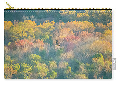 Carry-all Pouch featuring the photograph Solo Eagle With Fall Colors by Jeff at JSJ Photography