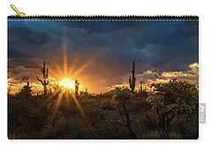 Carry-all Pouch featuring the photograph Sonoran Gold At Sunset  by Saija Lehtonen