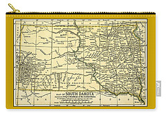 South Dakota Antique Map 1891 Carry-all Pouch
