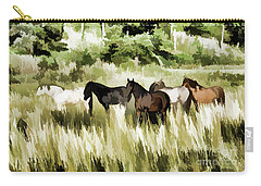Carry-all Pouch featuring the mixed media South Dakota Herd Of Horses by Wilma Birdwell