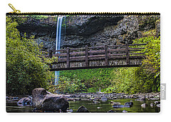 South Silver Falls With Bridge Carry-all Pouch by Darcy Michaelchuk