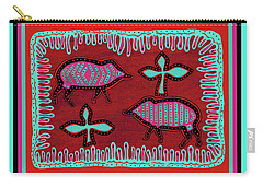 Carry-all Pouch featuring the digital art Southwest Desert Javelina by Vagabond Folk Art - Virginia Vivier
