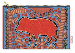 Carry-all Pouch featuring the digital art Southwest Desert Wart Hog by Vagabond Folk Art - Virginia Vivier