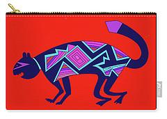 Carry-all Pouch featuring the digital art Southwest Mimbres Feline by Vagabond Folk Art - Virginia Vivier