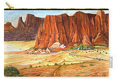 Carry-all Pouch featuring the painting Southwest Red Rock Ranch by Marilyn Smith