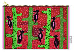 Carry-all Pouch featuring the digital art Southwest Saguaro Birds by Vagabond Folk Art - Virginia Vivier