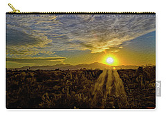Carry-all Pouch featuring the digital art Southwest Sunset Op40 by Mark Myhaver
