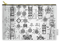 Carry-all Pouch featuring the digital art Soviet Rocket Schematics by Taylan Apukovska