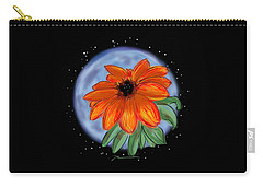 Carry-all Pouch featuring the painting Space Zinnia On Black by Jean Pacheco Ravinski