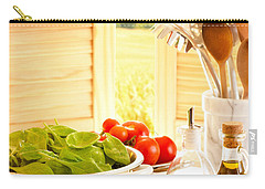 Spaghetti And Tomatoes In Country Kitchen Carry-all Pouch by Amanda Elwell