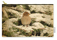 Carry-all Pouch featuring the photograph Sparrow In Winter II - Textured by Angie Tirado