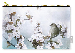 Carry-all Pouch featuring the mixed media Sparrow On Cherry Branch by Shanina Conway