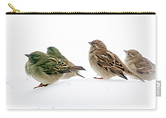 Sparrows In The Snow Carry-all Pouch by Eleanor Abramson