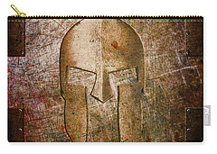 Spartan Helmet On Metal Sheet With Copper Hue Carry-all Pouch