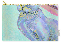 Carry-all Pouch featuring the digital art Sphinx In Pink Hat by Jane Schnetlage