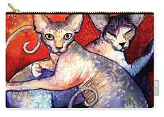 Sphynx Cats Sphinx Family Painting  Carry-all Pouch by Svetlana Novikova