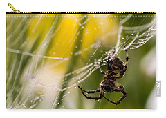Spider And Spider Web With Dew Drops 04 Carry-all Pouch