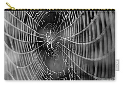 Spider In A Dew Covered Web - Black And White Carry-all Pouch