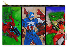 Carry-all Pouch featuring the drawing Spider-man Collage  by Justin Moore