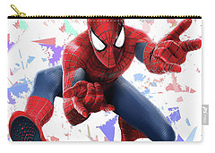Carry-all Pouch featuring the mixed media Spider Man Splash Super Hero Series by Movie Poster Prints