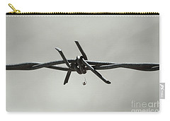 Spider On Barbed Wire In Black And White Carry-all Pouch