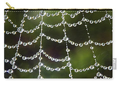 Carry-all Pouch featuring the photograph Spider Web Decorated By Morning Fog by William Lee