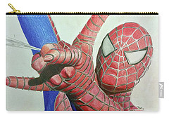 Carry-all Pouch featuring the drawing Spiderman by Michael McKenzie
