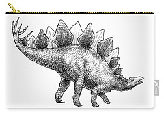 Spike The Stegosaurus - Black And White Dinosaur Drawing Carry-all Pouch by Karen Whitworth