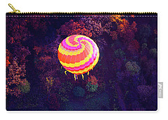 Spiral Colored Hot Air Balloon Over Fall Tree Tops Mchenry   Carry-all Pouch by Tom Jelen