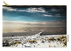 Carry-all Pouch featuring the photograph Spiral Jetty In Winter by Bryan Carter