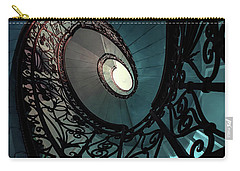 Carry-all Pouch featuring the photograph Spiral Ornamented Staircase In Blue And Green Tones by Jaroslaw Blaminsky