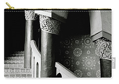 Carry-all Pouch featuring the mixed media Spiral Stairs- Black And White Photo By Linda Woods by Linda Woods