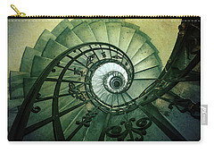 Carry-all Pouch featuring the photograph Spiral Stairs In Green Tones by Jaroslaw Blaminsky